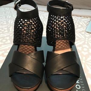 Torrid Black Woven Leather Platform Sandals Wedge